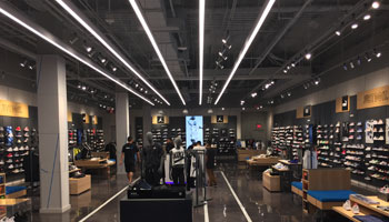 Shoe store illuminated by LED liner.