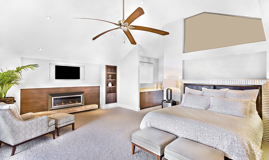 celing fan in modern bed area