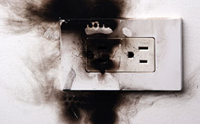burnt out power outlet