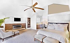 celing fan in modern bed area